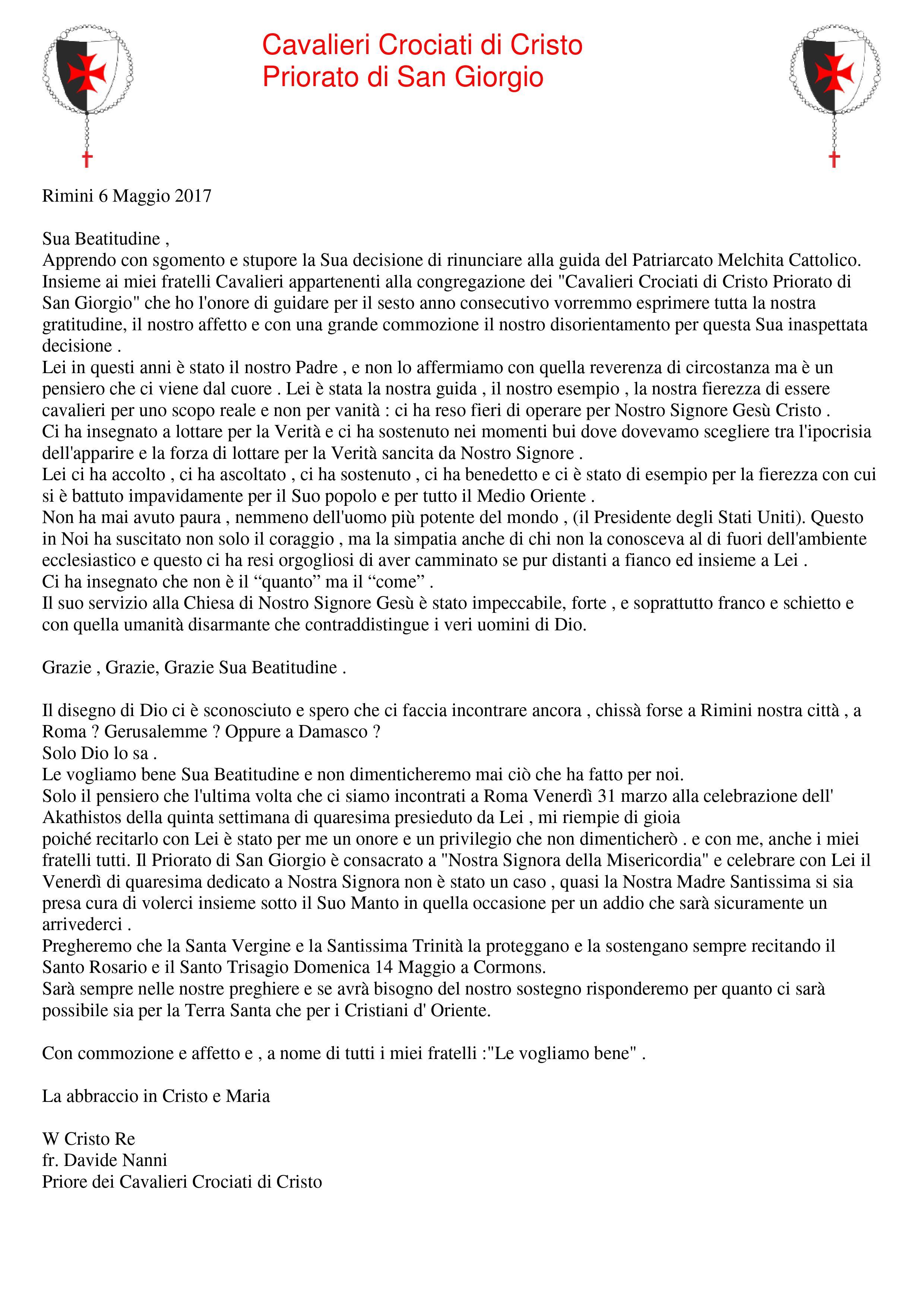 PSG-2017-dimissioni Sua Beatitudine